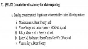 Pending Litigation Against Bexar County