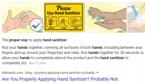 picture with instructions on hand sanitizer use