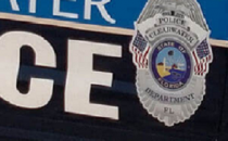 police car door with Clearwater Police Department emblem